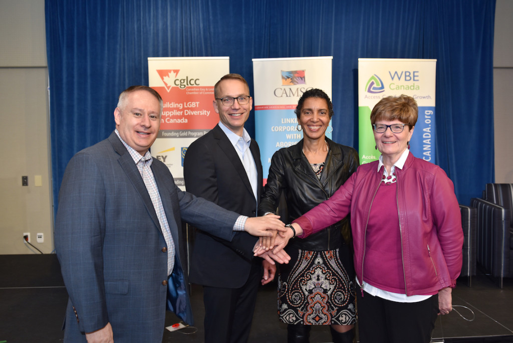 From left: CGLCC Co-Founders, Bruce McDonald, Darrell Schuurman;  CAMSC President & CEO, Cassandra Dorrington; WBE Canada President, Mary Anderson